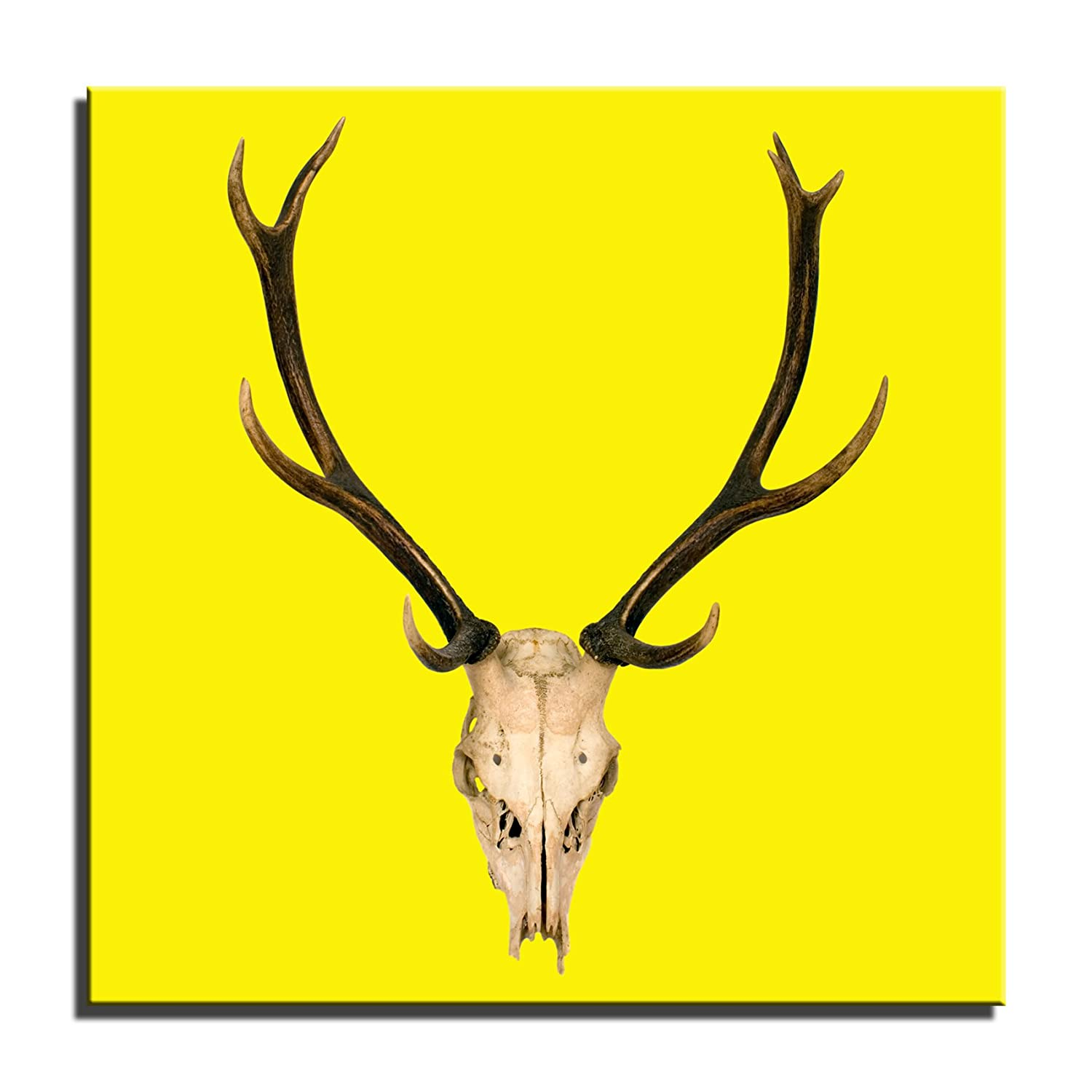Canvas Culture - Vintage Stag Head Canvas Art Framed Print 1 Yellow ...
