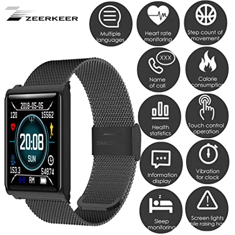 ZEERKEER Pantalla táctil Inteligente Reloj Inteligente a Prueba de Agua con Monitor electrónico de presión Arterial