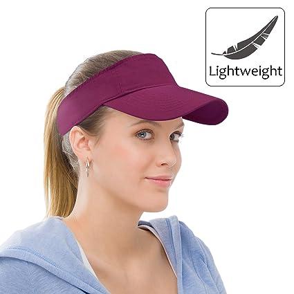 8ead24804058f Amazon.com   Sun Visor Sports Cotton Twill Plain Hat with Adjustable Strap  for Men Women Outdoor Golf Tennis Running Jogging Hiking   Clothing