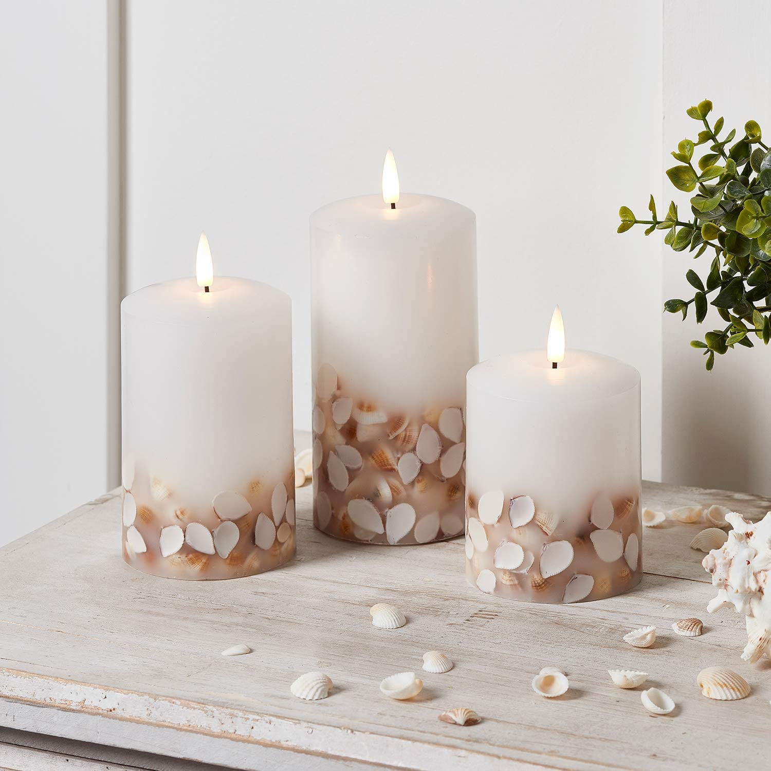 Lights4fun, Inc. Set of 3 TruGlow Seashell Ivory Wax Flameless LED Battery Operated Pillar Candles with Remote Control