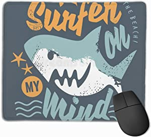 Surfing Tee Shirt Graphic with Cartoon Shark Customized Personality Elegant Mouse Pad