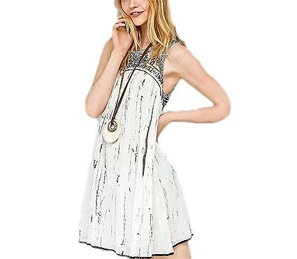 AS503anakla Fashion mulheres teste padrão geométrico sem mangas vestido bohemian férias branco vestidos backless beach dress