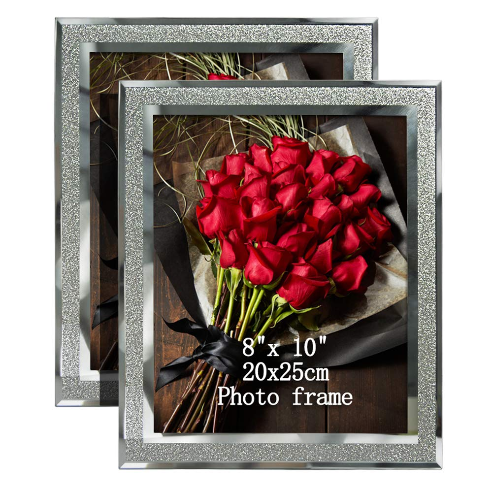 Artsay 8x10 Picture Frames Sparkle Glass Photo Frame, Freestanding, 8 x 10 inch, 2 Pack