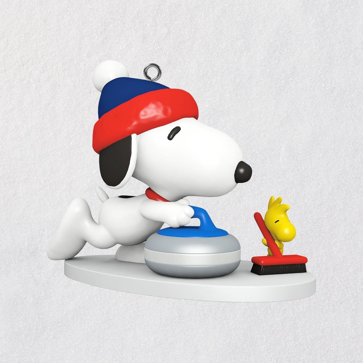 Hallmark Keepsake Mini Christmas Ornament 2018 Year Dated, Peanuts Snoopy Winter Fun and Games Curling Miniature, 1''