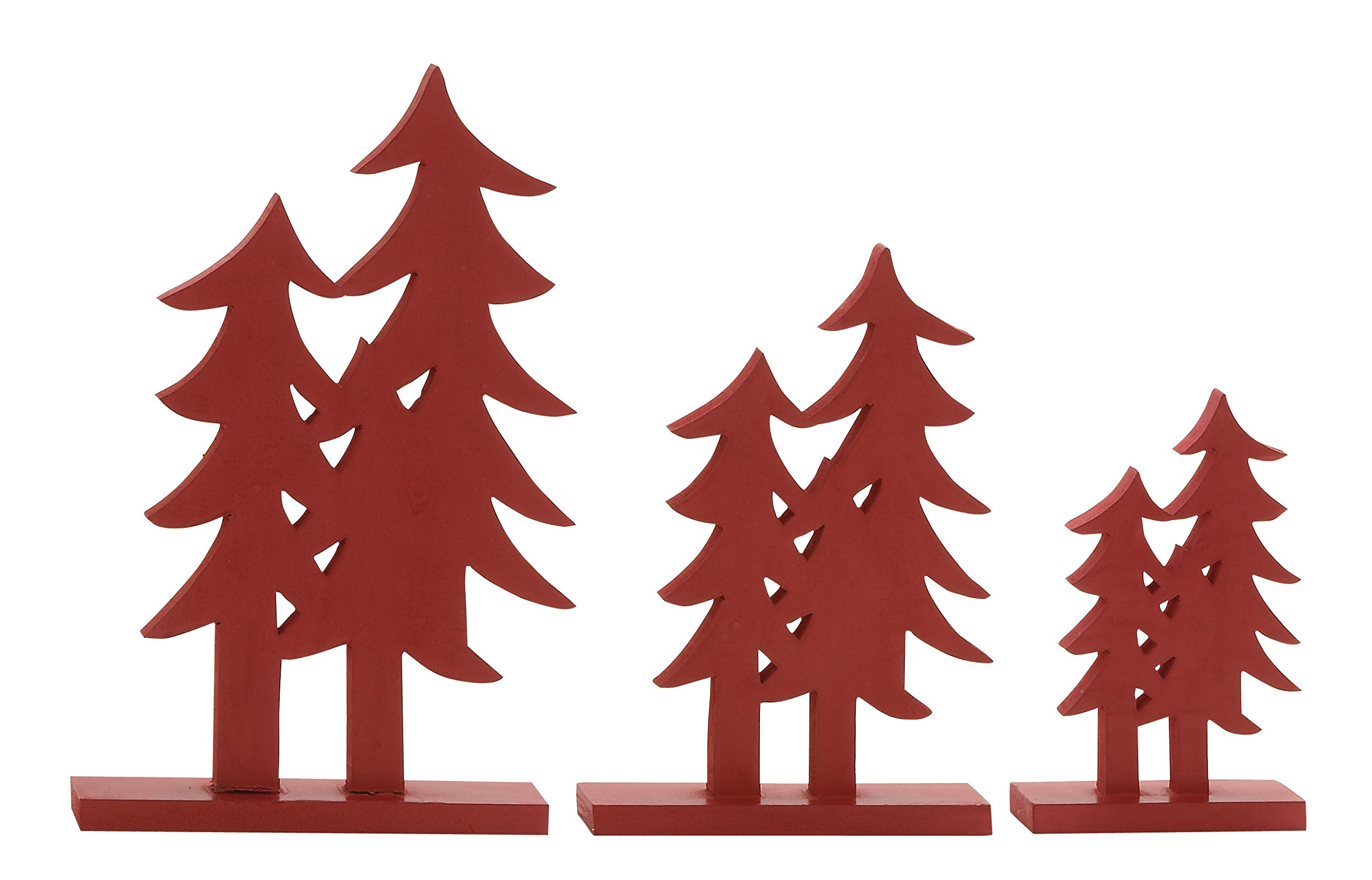 Plutus Brands Red Wood Christmas Tree (Set of 3), 10 by 12 by 16''