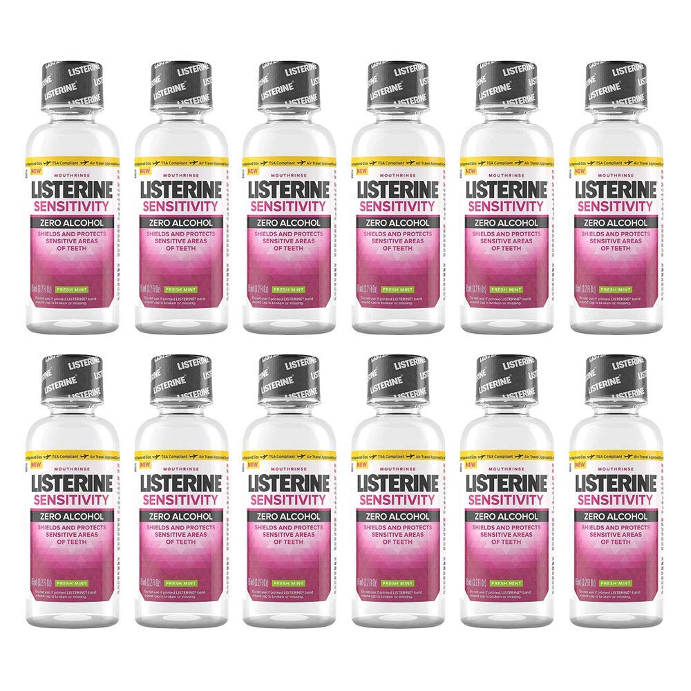 Listerine Mouthwash Sensitivity Zero Alcohol Fresh Mint Travel Size 3.2oz (12 Pack)