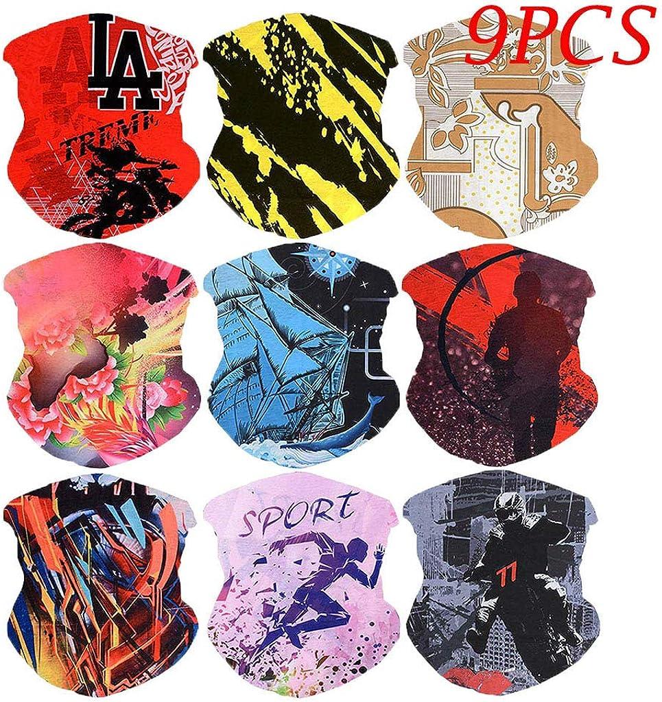 Nopeak Scarf Fashion Printing Neckerchief Headband Wristband Hair-band Face Cover Face Scarf 9Pcs