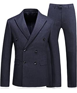 8f6c3a58d4 MOGU Mens Double Breasted Pinstripe 3 Piece Suit Slim Fit Blazer Jacket    Trousers   Waistcoat