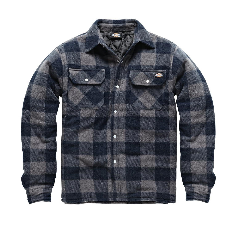Shirt jacket design - Dickies Portland Shirt High Quality Padded Work Shirt Jacket Polar Fleece Check Design Studded Front Opening Chest Pockets Comfort Warm Sh5000