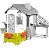 Smoby 810904 Gartenzaun mit Blumenkästen, Indoor und Outdoor Spielhaus, Garten-Haus Zubehör für Kinder ab 2 Jahren, grün, rot