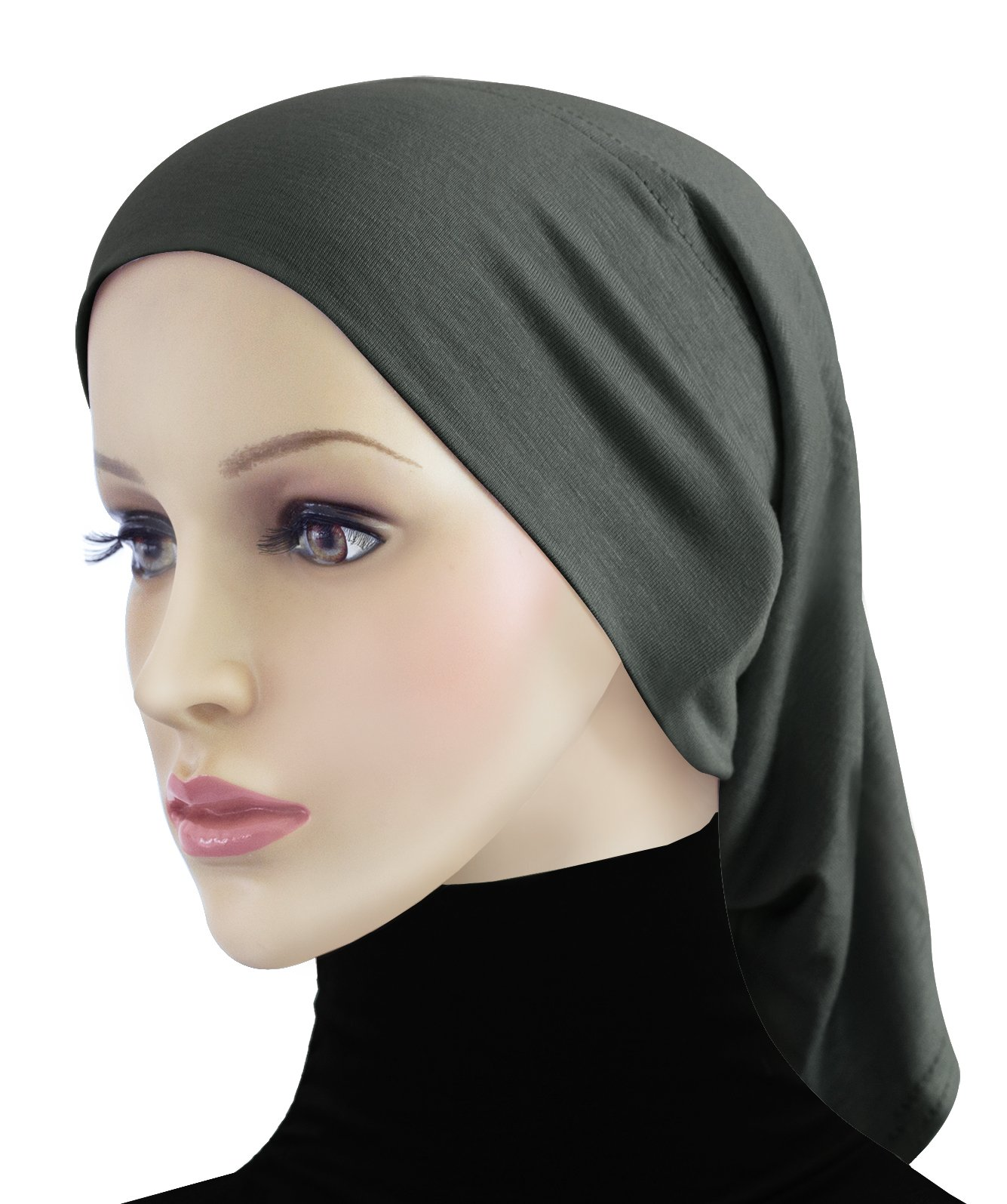 Cotton Hijab 2 piece Amira Set Easy Instant Pull-On Hood & Tube Cap (Charcoal Gray) by Khatib Fashions (Image #2)