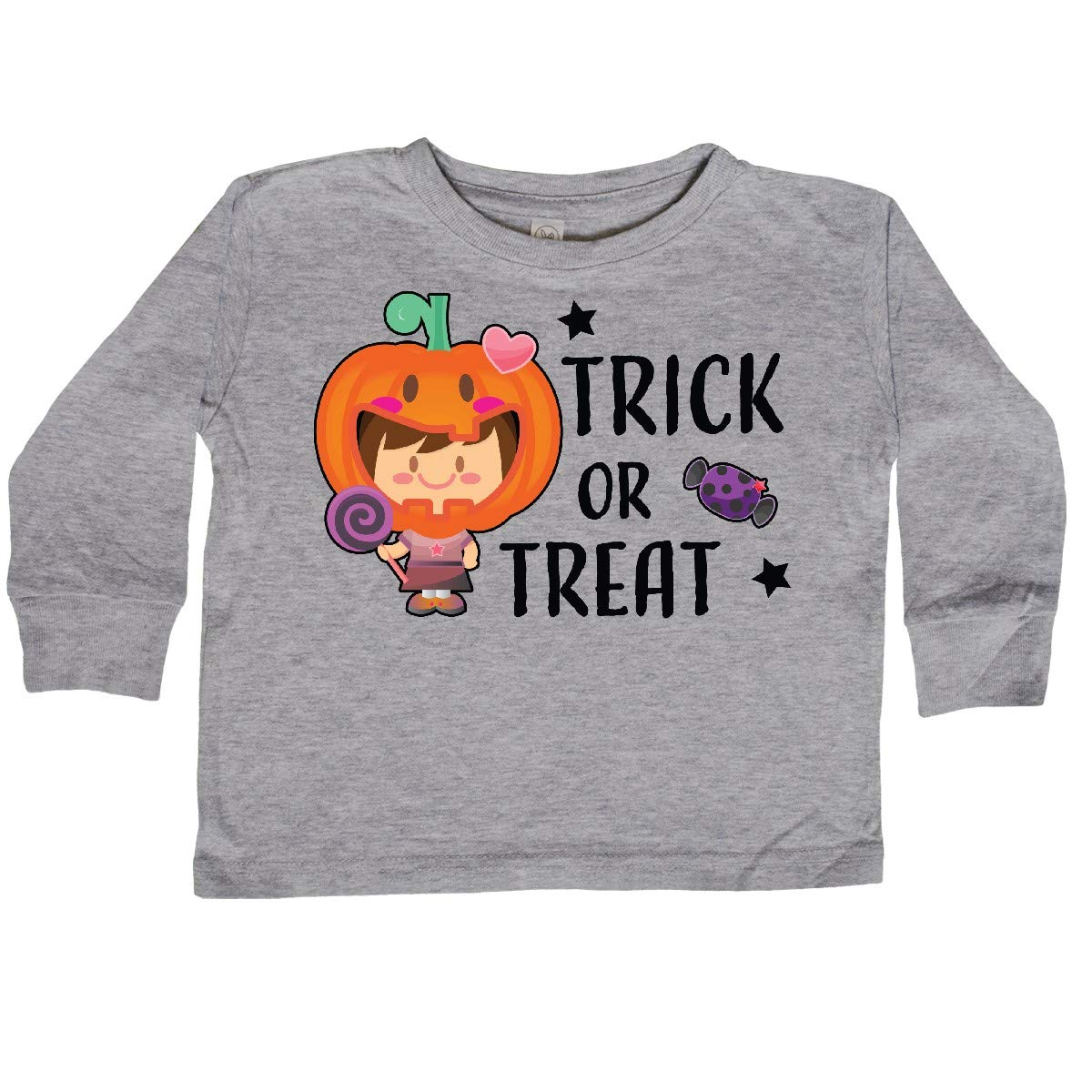 inktastic Trick or Treat Girl with Pumpkin and Brown Toddler Long Sleeve T-Shirt
