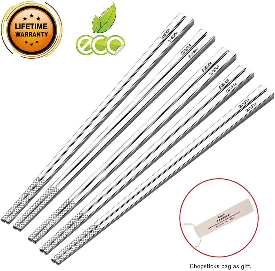 Chopsticks Reusable Dishwasher Safe Metal Chopsticks Set Food Grade 304 Stainless Steel Chopsticks Non-slip Square Healthy Lightweight Travel Reusable Chopstick with Case Korean Style 5 Pairs Gift Set