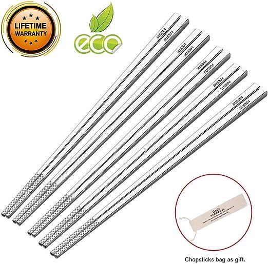 1 Pair Reusable Chopsticks Metal Korean Chinese Stainless Steel Chop Sticks Char