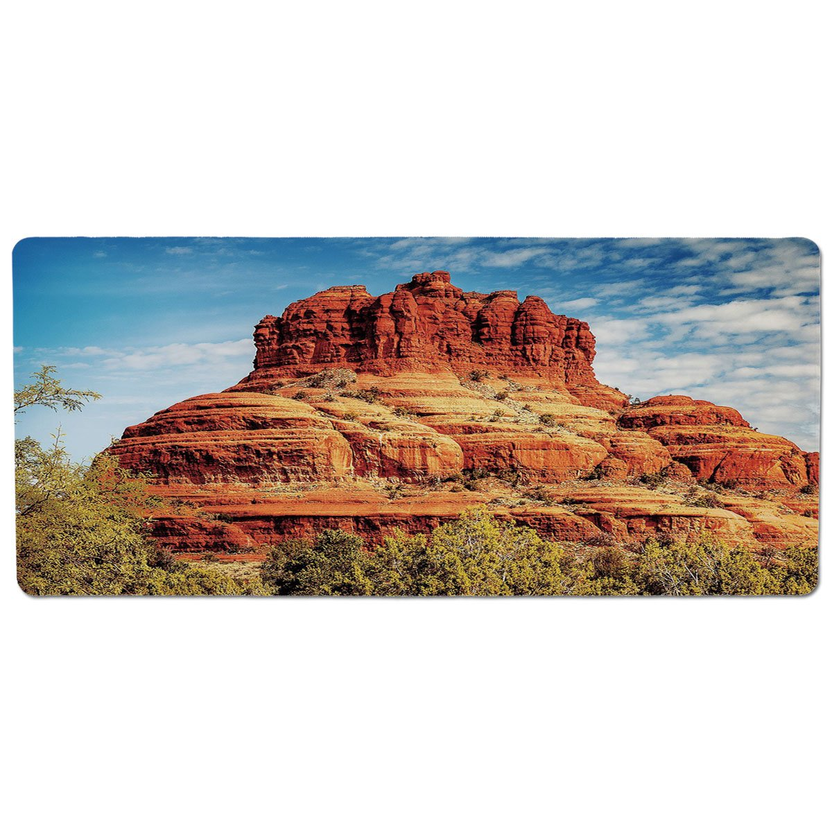 35.4\ Pet Mat for Food and Water,Western,Famous Bell Rock and Courthouse Butte in Sedona Arizona USA Nature Desert Decorative,Cinnamon bluee Green,Rectangle Non-Slip Rubber Mat for Dogs and Cats