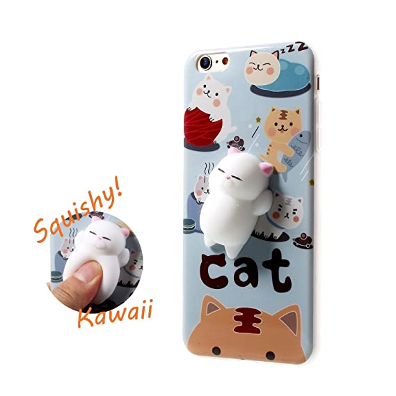 Squishy Cat Phone Case for iPhone 6s Plus Kawaii Cute Soft Silicon TPU Shell Squeeze Squishies Slow Rising Jumbo Fidget Toy Stress Relieve