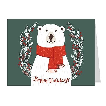 smiling polar bear holiday card pack set of 25 cards 1 design versed - Holiday Card Design