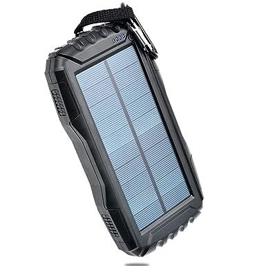 TOENNESEN Cargador Solar Portátil Power Bank Cargador 25000mAh Capacidad con Linterna LED/2 Puertos USB para Smartphone/iPhone/Samsung ...