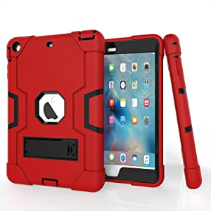 iPad Mini Case, Mini 2 Case, Mini 3 Case, Rugged Kickstand Series - Shockproof Heavy Duty Hybrid Three Layer Armor Defender Kids Child Proof Case Cover for iPad Mini 1/2/3 - Red