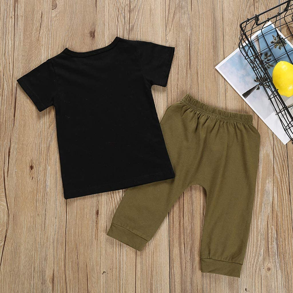 Toddler Baby Boys Summer Clothes Outfits 1 to 4 Years Old Short Sleeve Letter Print Tees Shirt Pants Pajamas Set
