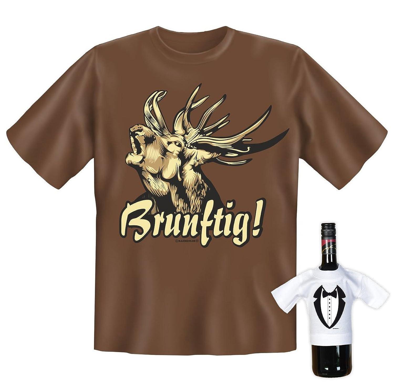 T-Shirt - Röhrender Hirsch - Brunftig - lustiges Sprüche Shirt für Trachten  Fans mit Humor - Geschenk Set mit Funshirt und Minishirt: Amazon.de:  Bekleidung