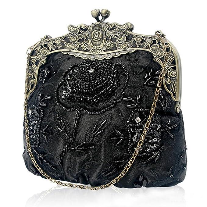 65d448476c3dc3 SABARRY Ladies\'s Antique Beaded Sequin Vintage Rose Purse Evening Handbag  Wedding Bags Women