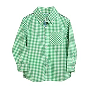 Rockin' Baby Little Boys Green Checked Pattern Button Up Charlie Shirt 2T-7