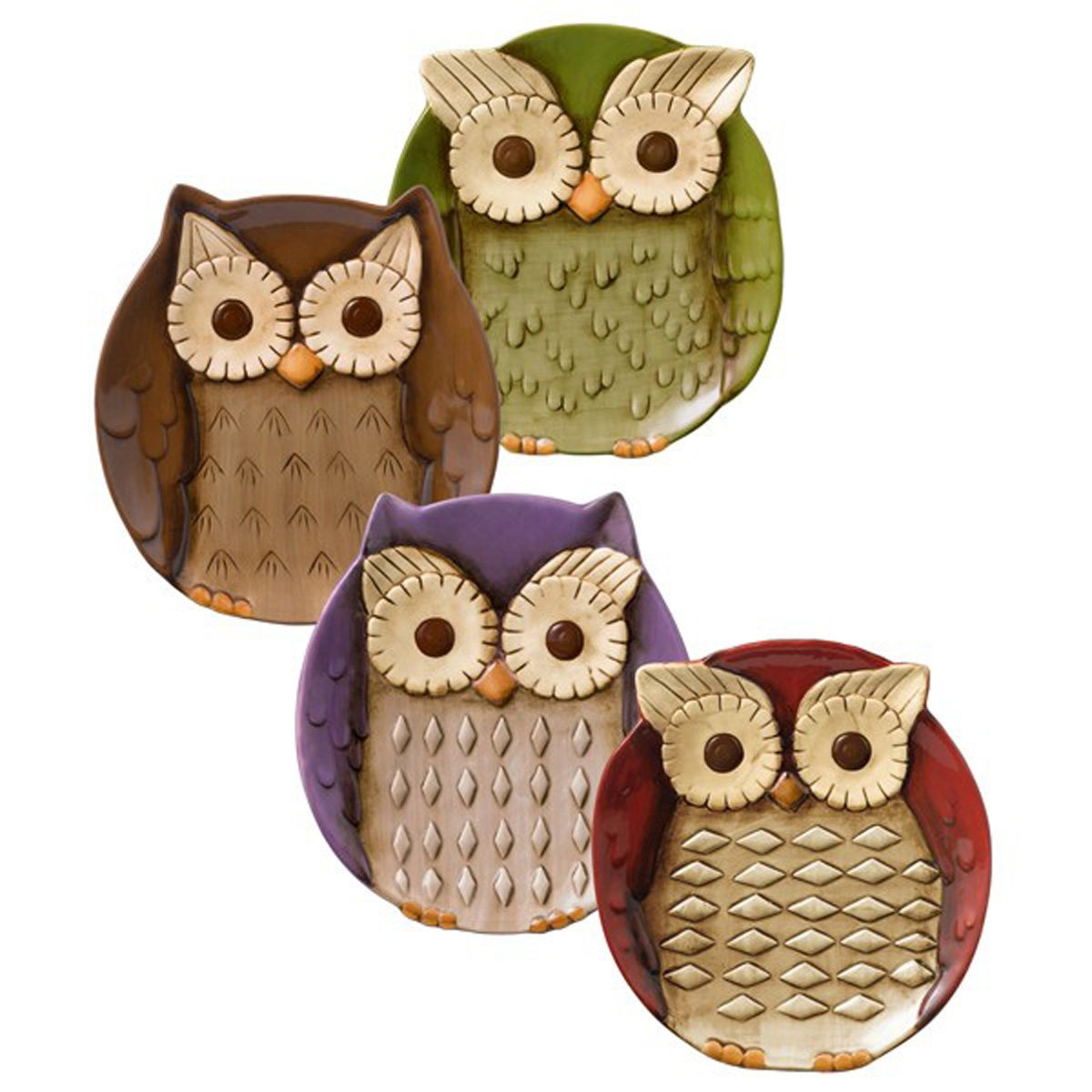 Crimson Hollow Owl Appetizer Plates Set of Four