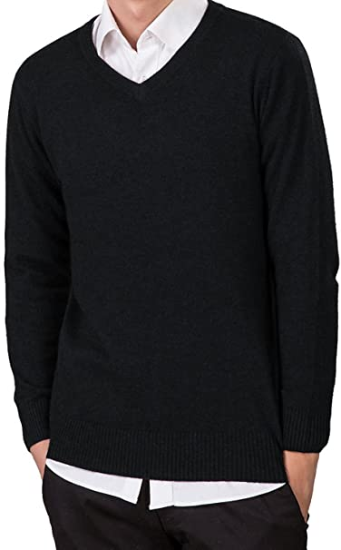 621b7f951d5 LONGMING Men's Casual Winter Cashmere Wool V-Neck Long Sleeve Pullover  Sweater Warm Tops(Black,M)
