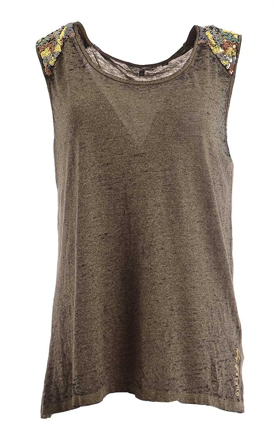 Guess Women's Sequin Shoulder Knit Leonu Top X-Large Light Green Black Heather