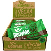 BodyMe Organic Vegan Protein Bar | Raw Cacao Mint | 12 x 60g Vegan Protein Snack Bars | Gluten Free | 16g Complete Protein | 3 Plant Proteins | All Essential Amino Acids | High Protein Vegan Snacks