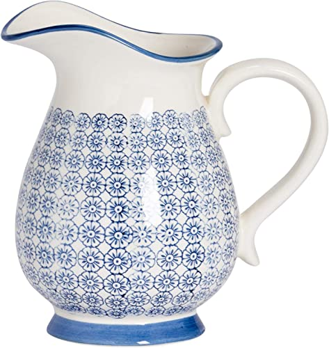 Nicola Spring Large Patterned Vase Water Jug – Blue Flower Print 2.2 litres