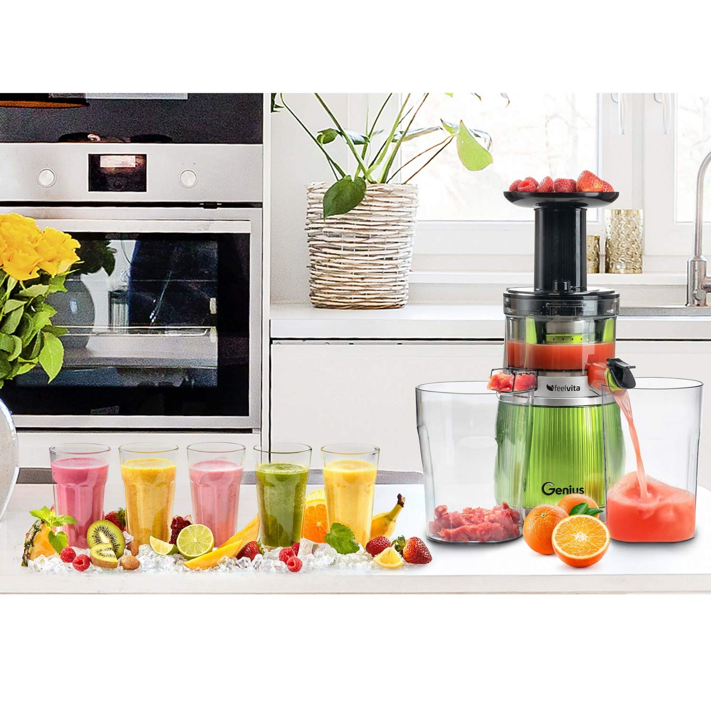100/% nat/ürlich Genius Feelvita Slow Juicer Entsafter//Saftpresse f/ür Obst und Gem/üse leistungsstarker Induktion-Motor 12 Teile 100/% Vitamine /& Mineralien f/ür 100 Prozent Fruchtgenuss!