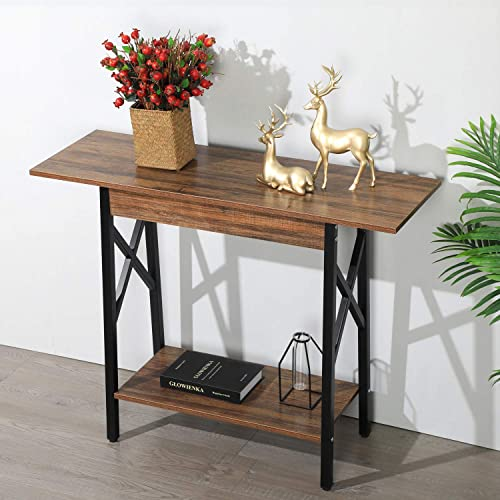 GreenForest Console Table Industrial Design Sofa Table with Storage Entryway Table for Living Room, Easy Assembly, Rustic Walnut