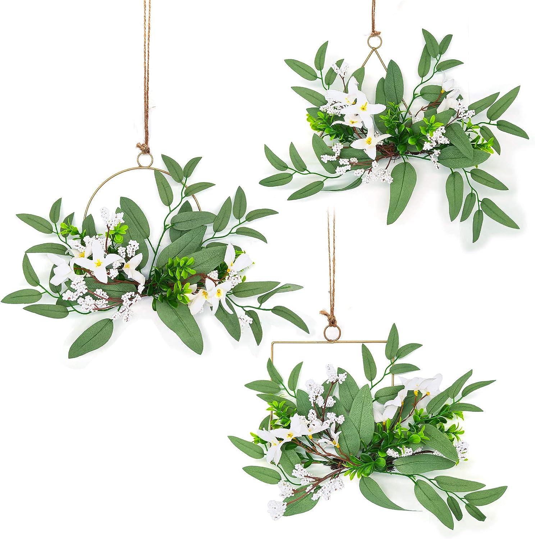 Floral Hoop Wreath 3 Set Artificial Flower Hanging Wall Decor for Wedding Nursery Wall Decor