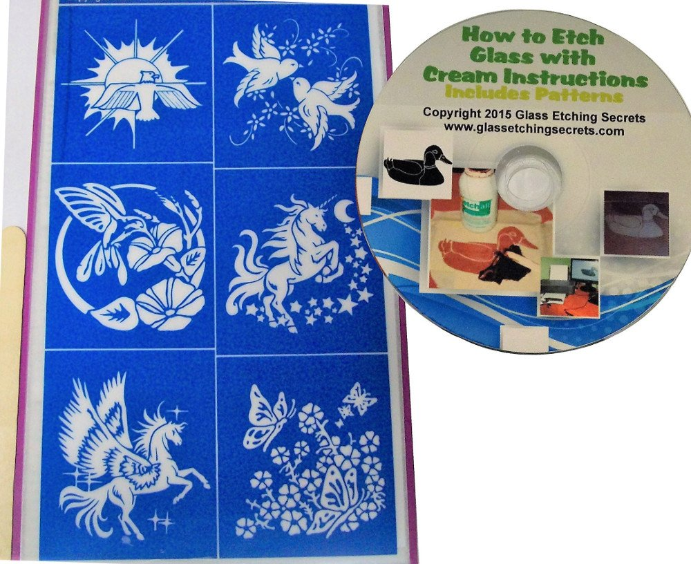 How To Etch Glass Amazoncom Dove Hummingbird Unicorn Butterfly Glass Etching