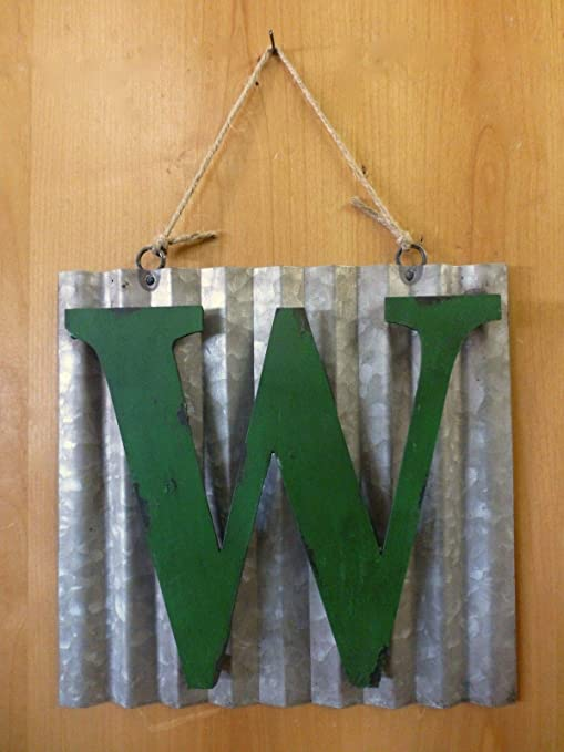 """10/"""" CORRUGATED INDUSTRIAL METAL SIGN LETTER /""""H/"""" GREEN vintage rustic wall decor"""