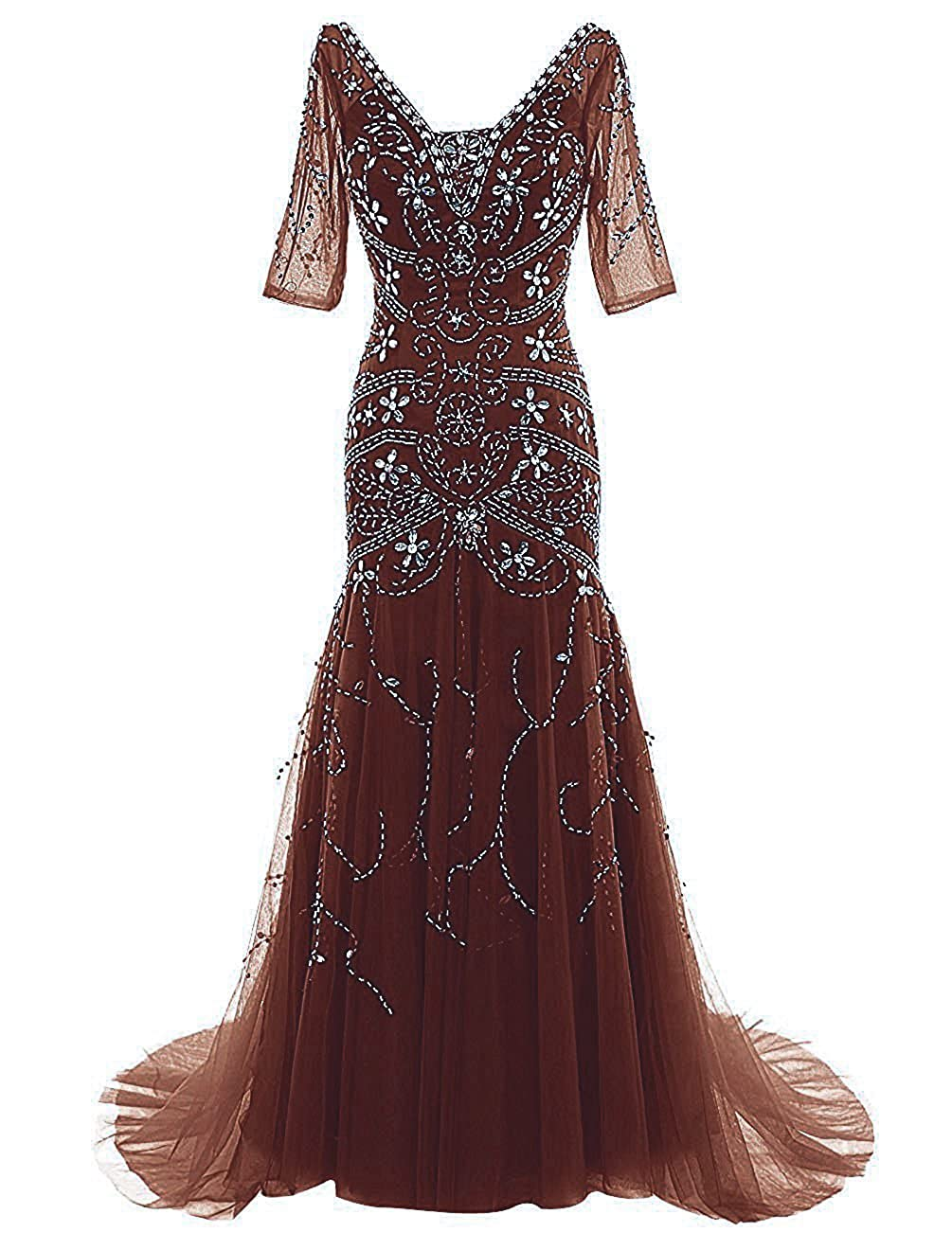 Chocolate Ellenhouse Mermaid Beaded Mother of Bride Dress with Sleeves Prom Gowns EL081