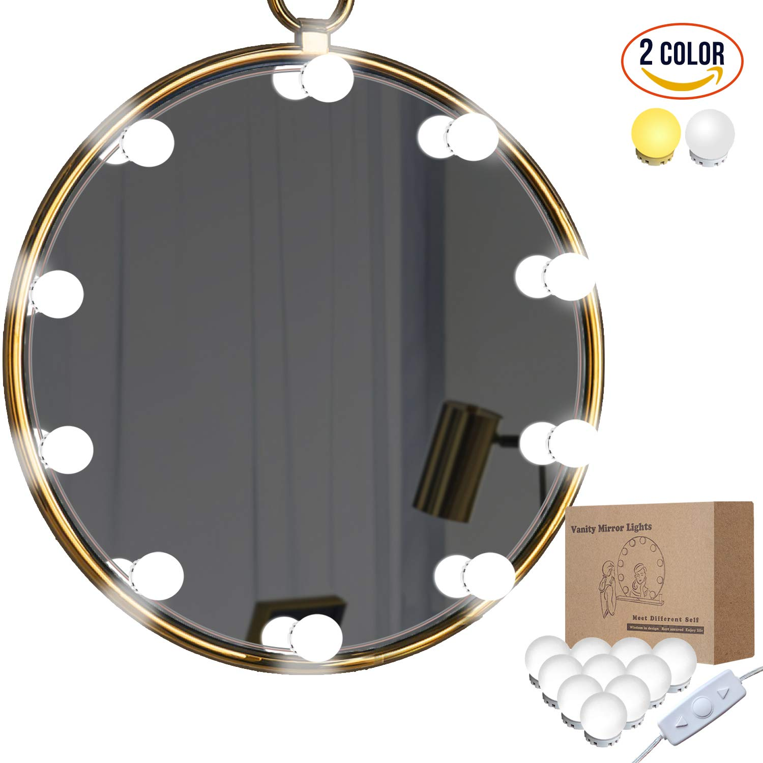 Vanity Mirror Lights Kit, LED Lights for Mirror with Dimmer and USB Phone Charger, 2 Color LED Makeup Mirror Lights, Lighting Fixture Strip for Makeup Vanity Table Set