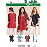 Simplicity 8052 Easy to Sew Women's Blouse Top Sewing Patterns, Sizes XXS-XXL