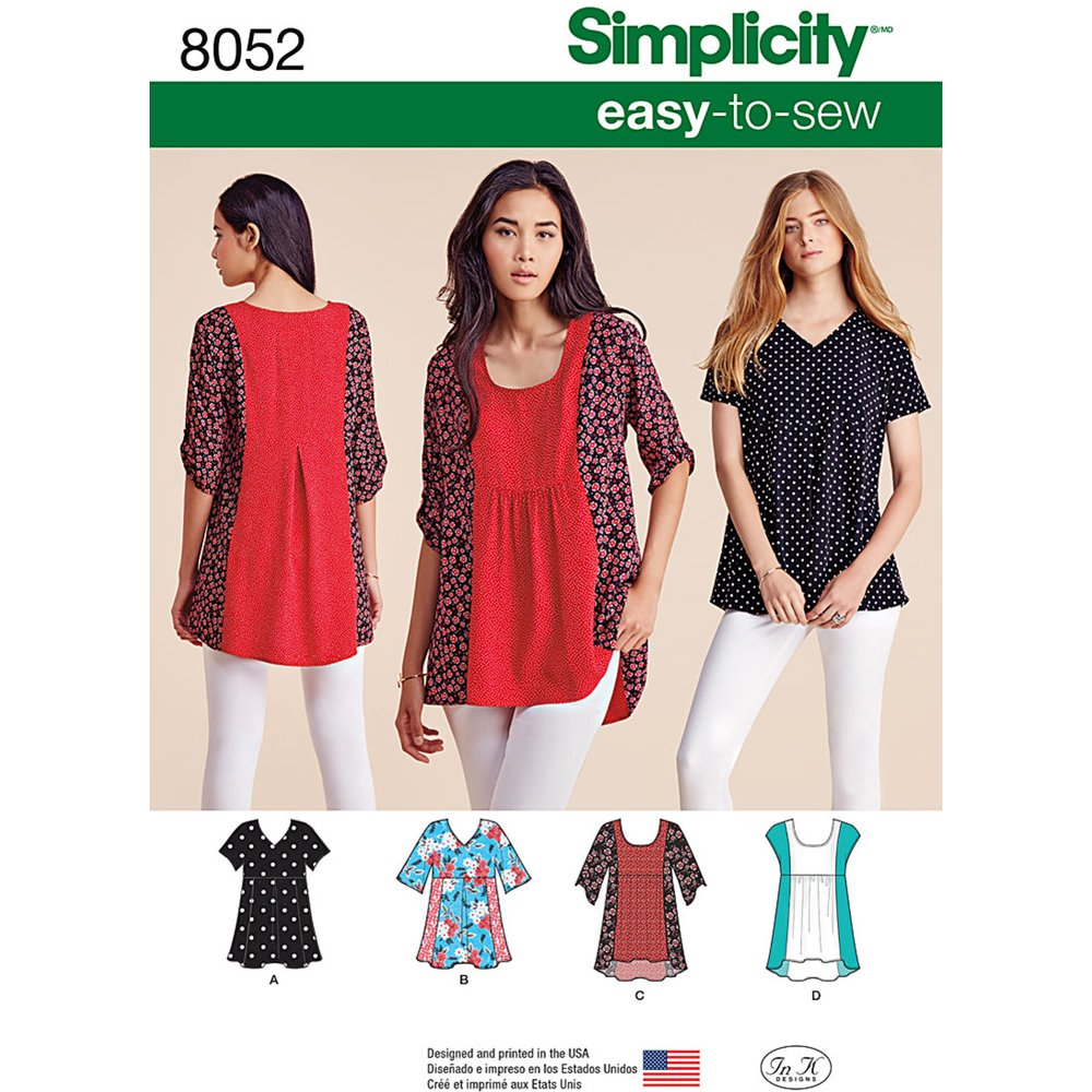 Sizes XXS-XXL Simplicity 8052 Easy to Sew Womens Blouse Top Sewing Patterns