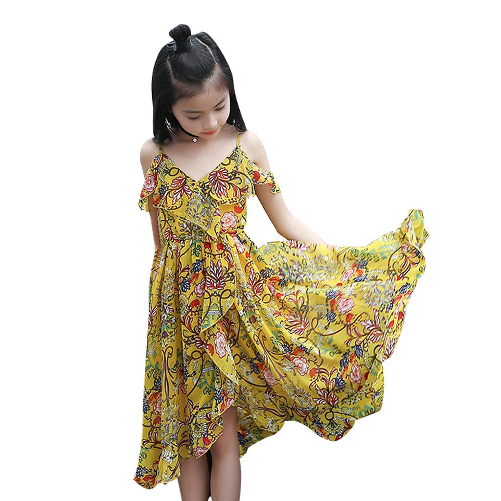 Buy Staron Summer Baby Dress 4 12years Kids Teen Children Girls Floral Ruffles Short Sleeve Off Shoulder Bohemia Vacation Beach Dress Sundress Clothes 7 8 Years Yellow At Amazon In