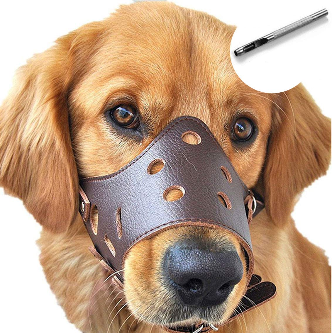 (L, Brown) Dog Muzzle Leather, Comfort Secure Anti-barking Muzzles for Dog, Breathable and Adjustable, Allows Dringking and Eating, Used with Collars