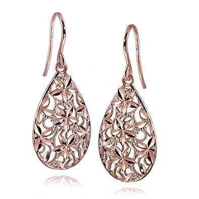 Verkaufsförderung Schnäppchen für Mode Original Kauf MATERIA Damen Ohrringe Rosegold Tropfen Silber 925 DANA - Gold Ohrhänger  lang hängend mit Box #SO-262