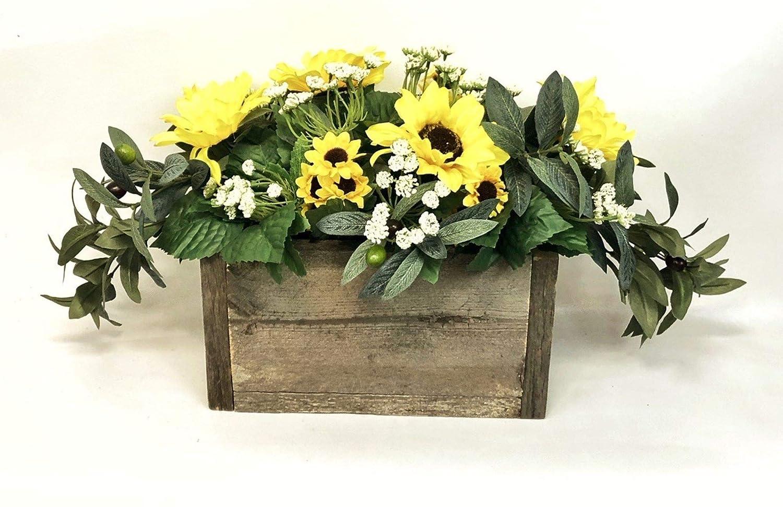 Amazon Com Vancortlandt Farms Handmade Sunflower Silk Centerpiece In Rustic Pine Planter S Box Handmade