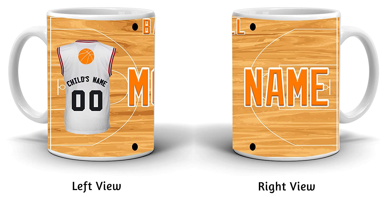 52c66a998c34 Amazon.com  BleuReign(TM) Personalized Custom Sports Basketball Mom License  Plate 11oz Ceramic Coffee Mug  Kitchen   Dining