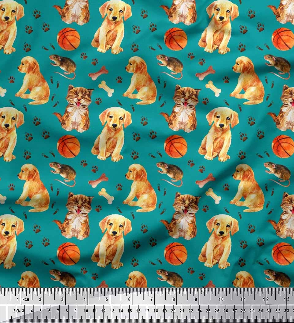 Soimoi Pink Cotton Cambric Fabric Dog Cartoon Print Fabric BTY 42 Inch Wide