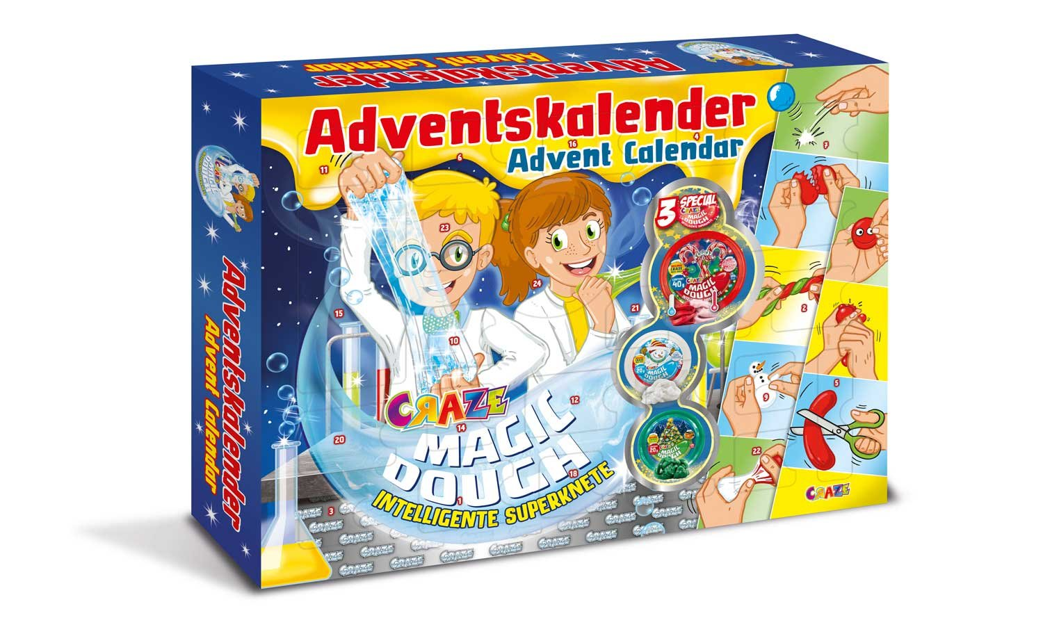 Craze 15049 - Adventskalender Magic Dough - Intelligente Superknete, BPA- und glutenfrei CRAZE GmbH 54049