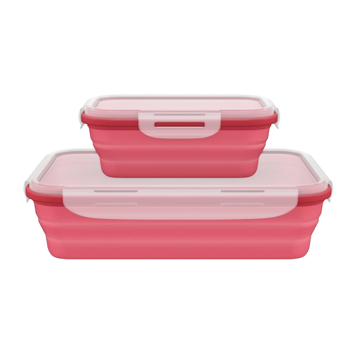 Amazon.com Leakproof BPA Free Silicone Collapsible Food Containers with Lock Lids Set of 2. Excellent Travel Containers with Lids for Office Motorhome ...  sc 1 st  Amazon.com & Amazon.com: Leakproof BPA Free Silicone Collapsible Food ...