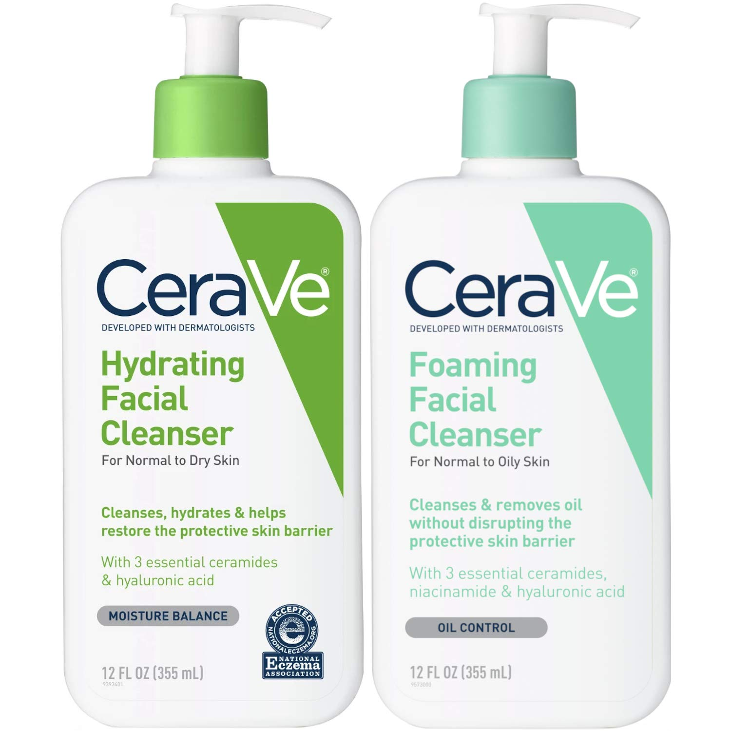 CeraVe Foaming Facial and Hydrating Cleanser, 24 Fluid Ounce